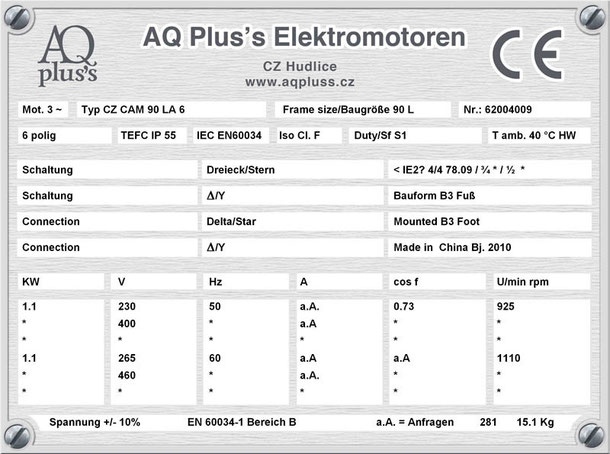 Elektromotor 1,1 KW  6 polig B3