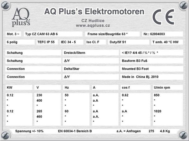 0,12 KW 6 polig B3 Elektromotor