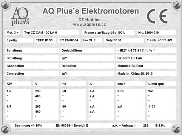 Elektromotor 1,5 KW  6 polig B3