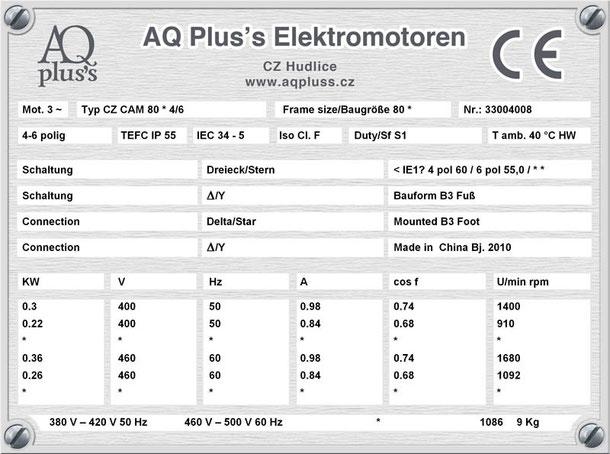 Elektromotor 0,3/0,22 KW 4/6 polig IEC 80 B3 Synchrondrehzahl 1500/1000 U/min Nenndrehzahl ca. 1400/910 U/min Nr.: 33004008
