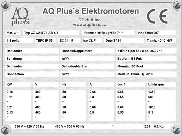 Elektromotor 0,18/0,11 KW 4/8 polig IEC 71 B3 Synchrondrehzahl 1500/750 U/min Nenndrehzahl ca. 1380/680 U/min Nr.: 53004007