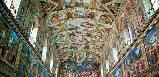 Die Sixtinische Kapelle im Vatikan (Foto: Antoine Taveneaux, Lizenz: CC-BY-SA-3.0,2.5,2.0,1.0)