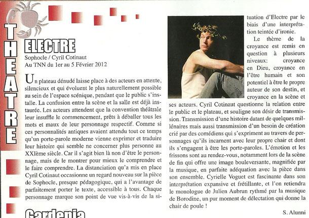Le Crabe des Arts - Critique de spectacle - Février 2012