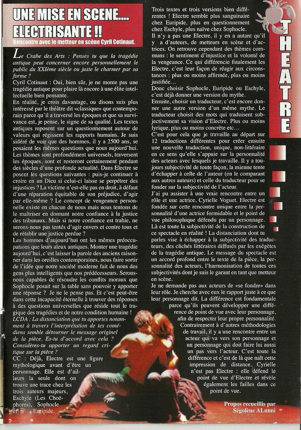 Le Crabe des Arts - Interview - Février 2012