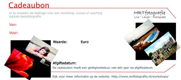 Cadeaubon voor workshop of fotoshoot van MRTfotografie te bestellen vanaf € 20,-