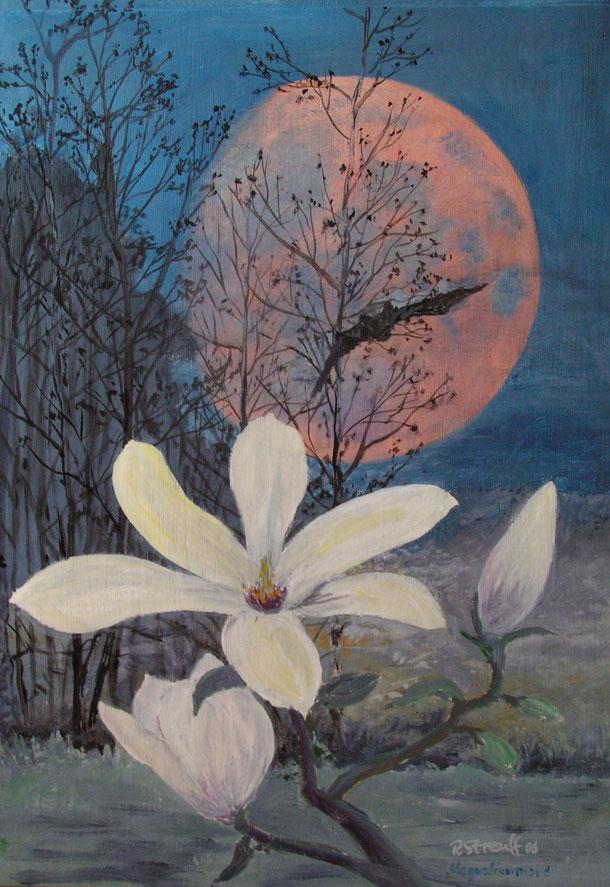 Landschaft, Magnolie, Japantusche, Malerei