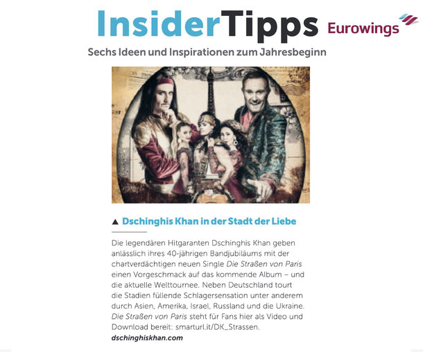 Dschinghis Khan in the Eurowings Magazin