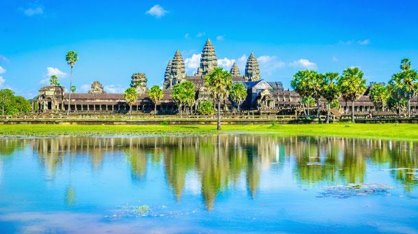 Die prächtige Tempelanlage Angkor Wat im Tempelkomplex Angkor bei Siem Reap.