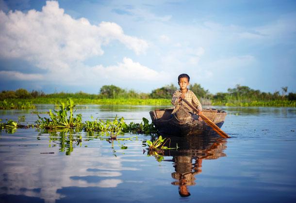 Der große Tonle Sap See in Kambodscha
