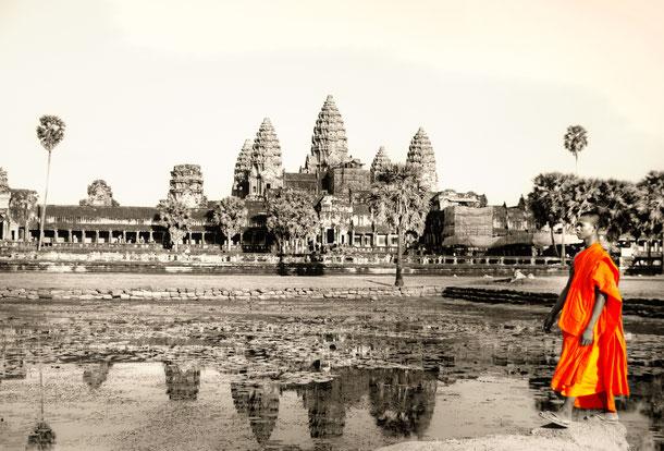 Die Reise  von Siem Reap in den Süden Kambodschas beginnt mit einer spirituellen Begegnung in Siem Reap.