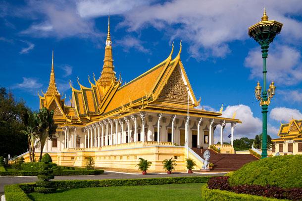 Der Königspalast und die Silberpagode in Phnom Penh.