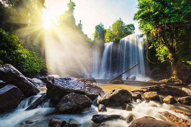 Der beindruckende Bou Sra Wasserfall in der Provinz Mondulkiri.