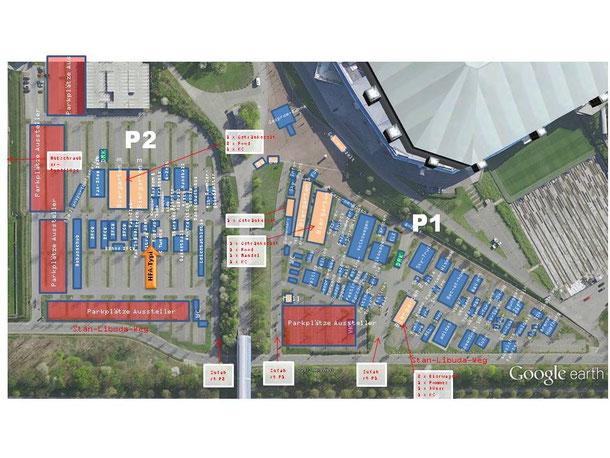 Lageplan  - Typisierung ist auf P2 zwischen den Ständen von UGE und Twente Enschede!