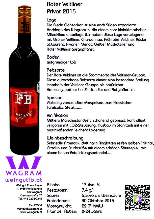 Roter Veltliner Privat Reserve Königsbrunn am Wagram Weingut Franz Bayer