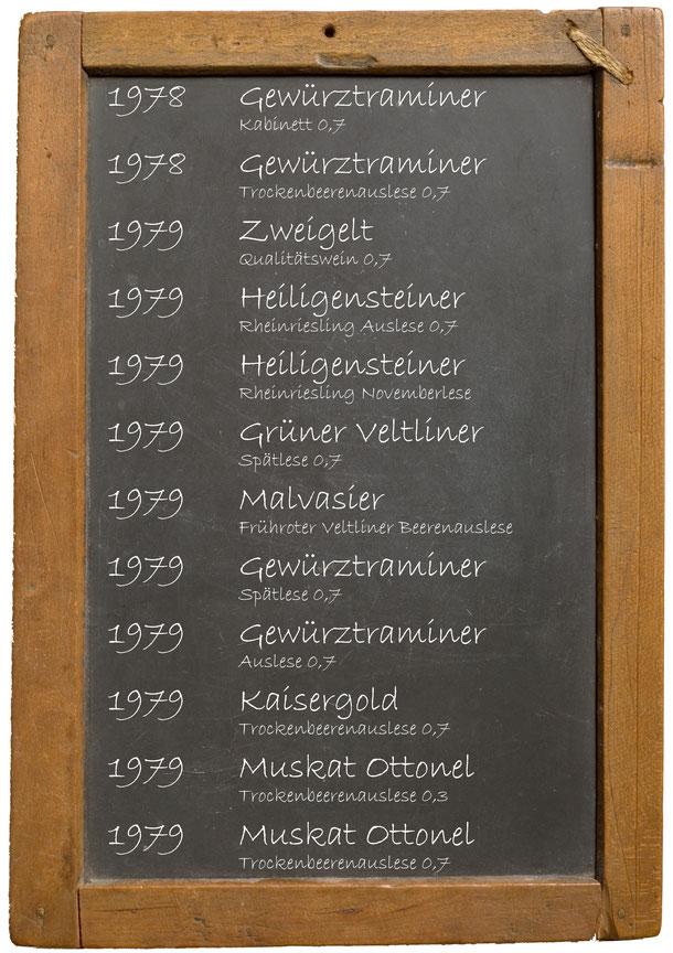 Jahrgangswein 1970 1971 1972 1973 1974 1975 1976 1977 1978 1979  Weingut Franz Bayer Königsbrunn am Wagram