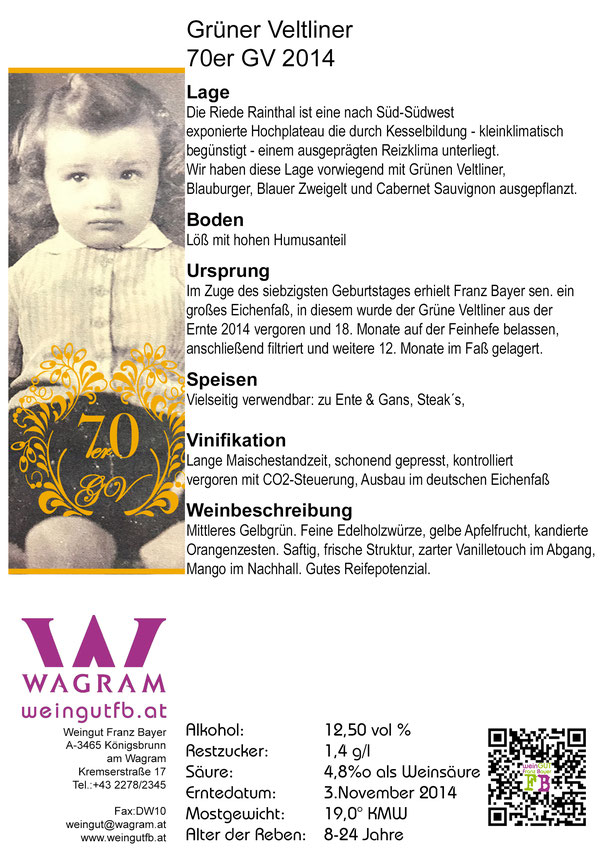 Grüner Veltliner 70er Privat Reserve Königsbrunn am Wagram Weingut Franz Bayer