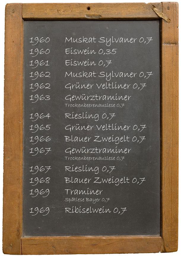 Jahrgangswein 1960 1961 1962 1963 1964 1965 1966 1967 1968 1969 Weingut Franz Bayer Königsbrunn am Wagram