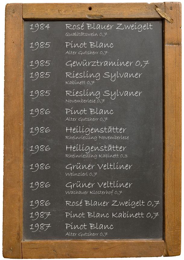 Jahrgangswein 1980 1981 1982 1983 1984 1985 1986 1987 1988 1989 Weingut Franz Bayer Königsbrunn am Wagram