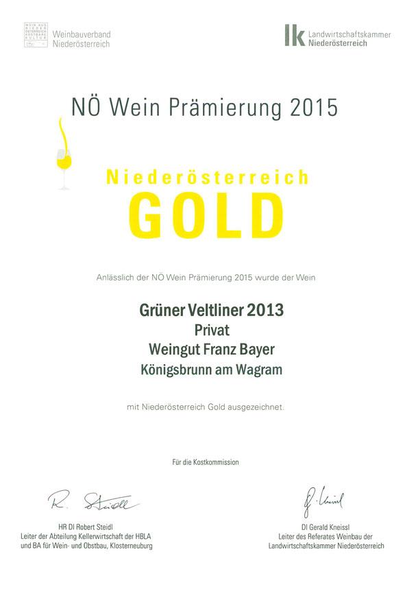 Grüner Veltliner Privat Weingut Franz Bayer Königsbrunn am Wagram Nö Prämierung Gold