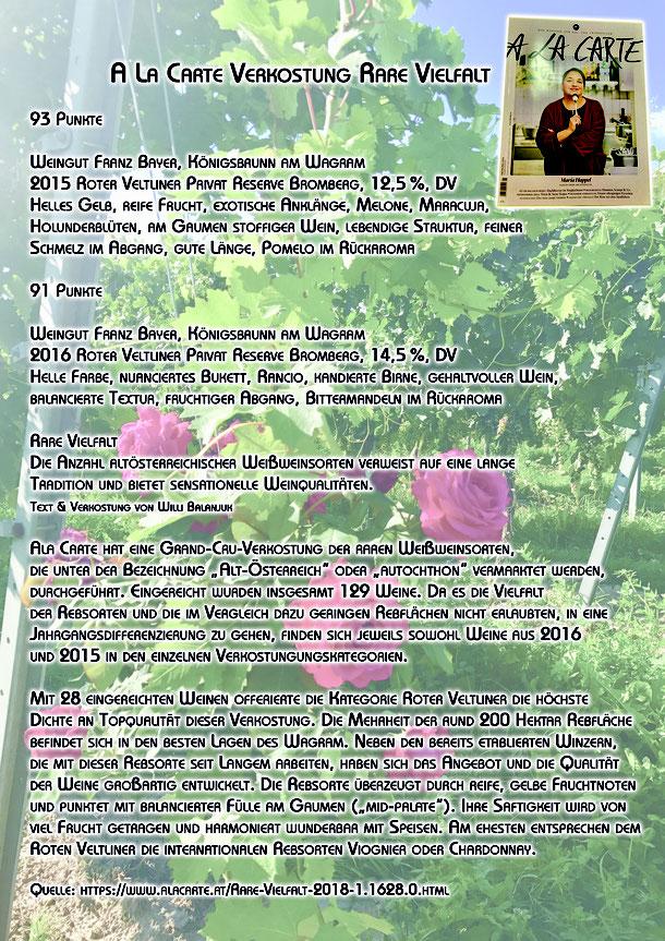 roter veltliner wagram königsbrunn am wagram weingut franz bayer a la carte rare vielfalt grand cru autochthone rebsorten weiß