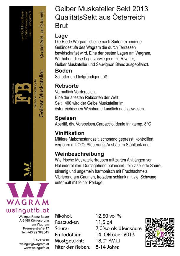 Gelber Muskateller Secco Qualitätssekt aus Österreich Weingut Franz Bayer Königsbrunn am Wagram
