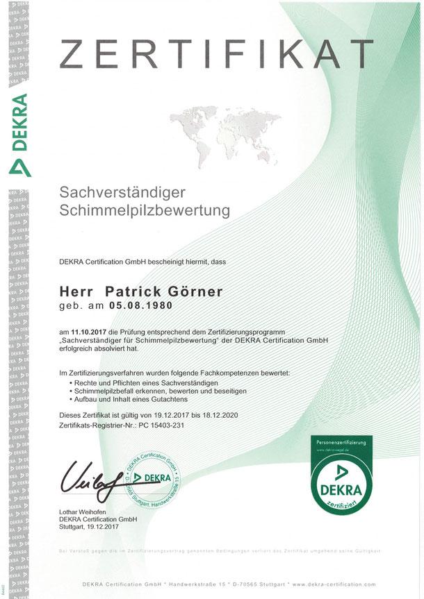 DEKRA Zertifikat Sachverständiger Schimmelpilzbewertung