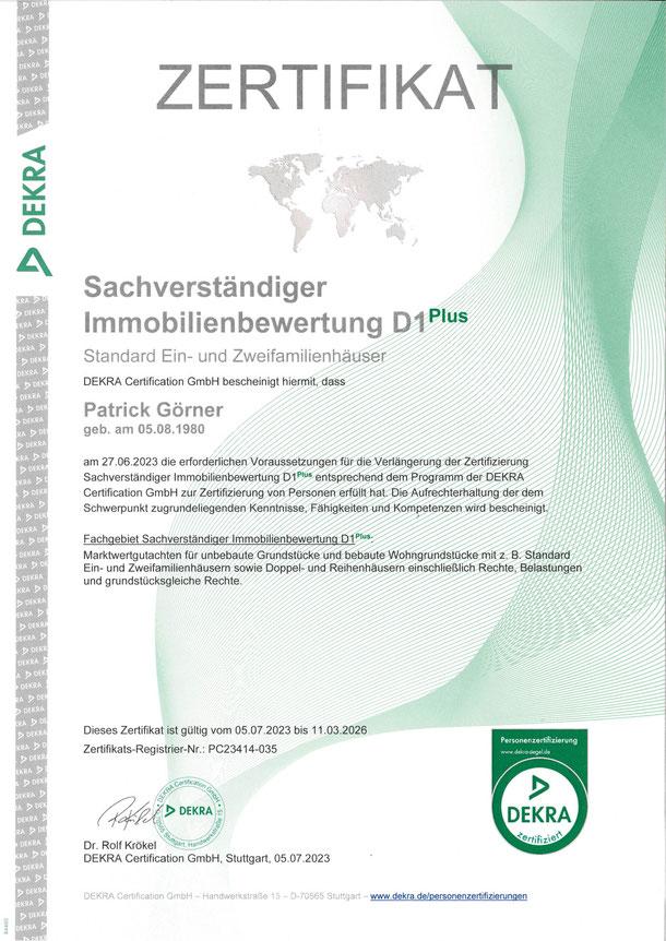 DEKRA Zertifikat Sachverständiger Immobilienbewertung D1plus