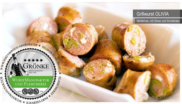 Grillwurst OLIVIA, mit fruchtiger Olive und Schafskäse, frisch @Wurstmanufaktur Grönke