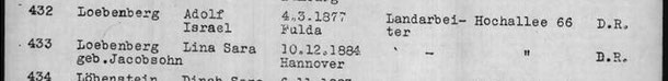 Excerpt from deportation list