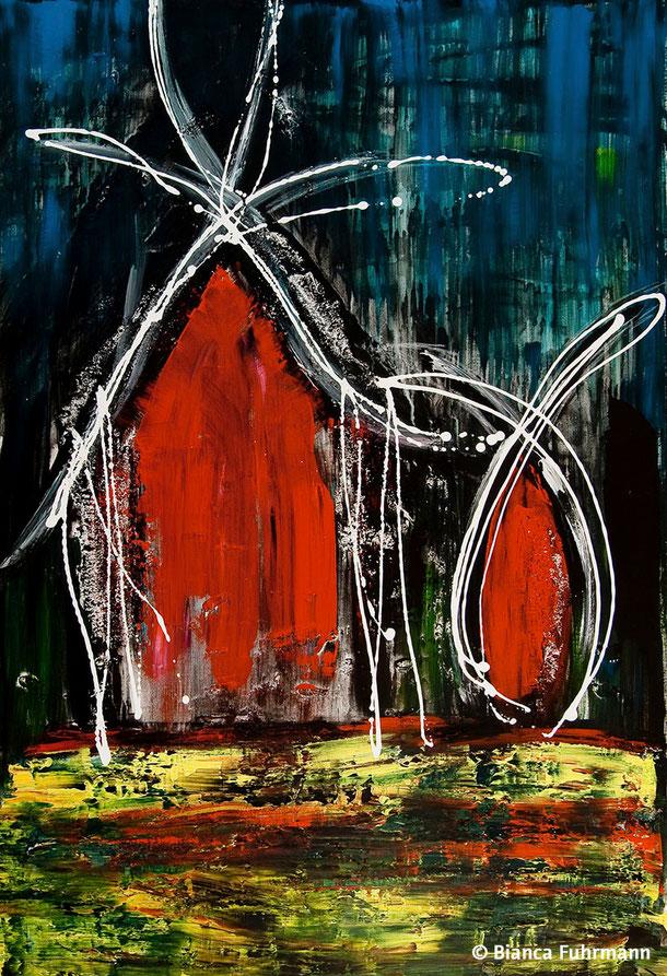Das Zuckerhäuschen  - Acryl und Gips auf Leinwand - (c) Bianca Fuhrmann  - www.bianca-fuhrmann-art.com   #bianca_fuhrmann_art