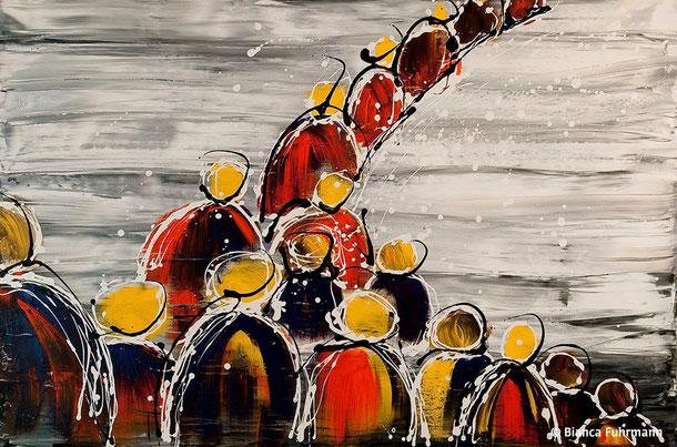 Die Prozession  - Acryl auf Leinwand - (c) Bianca Fuhrmann - www.bianca-fahrmann-art.com #bianca_fuhrmann_art