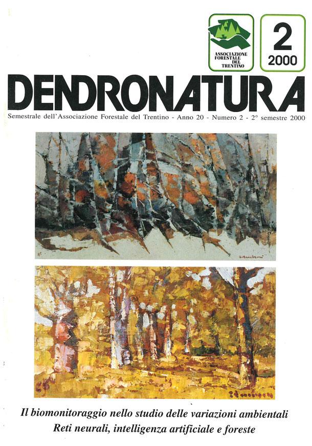 """foto di copertina: due dipinti di Elmo Ambrosi: """"Bosco innevato"""" (1975) e """"Alberi"""" (1965) - Galleria d'Arte Fedrizzi - Cles (TN)"""