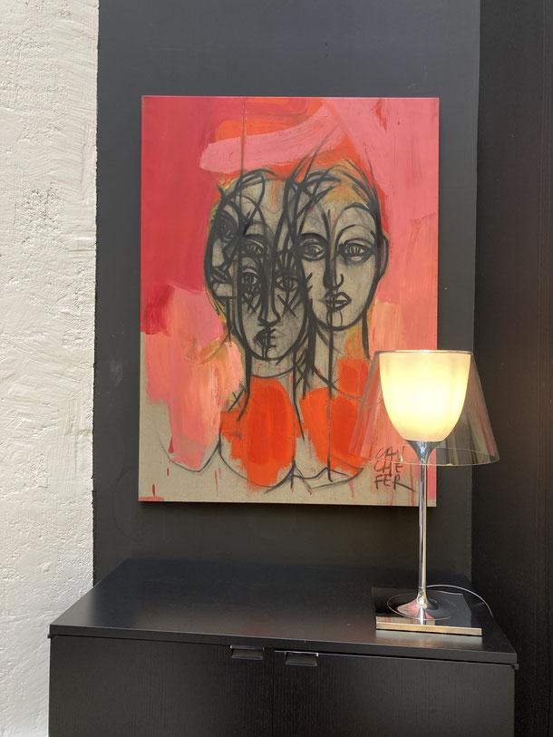 Figure ancienne - Acrylique sur toile 90/90 cm