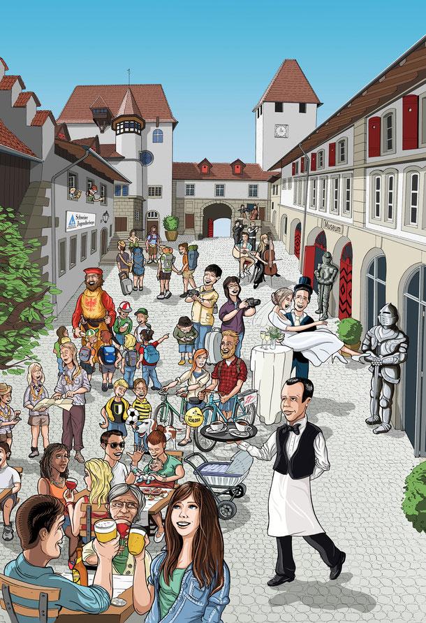 Schloss Burgdorf: Ablauf Illustration Auftrag: Fertigstellung / Anpassungen und Einfärbung (Kolorierung) in Adobe Photoshop  –  by Lockedesign Burgdorf