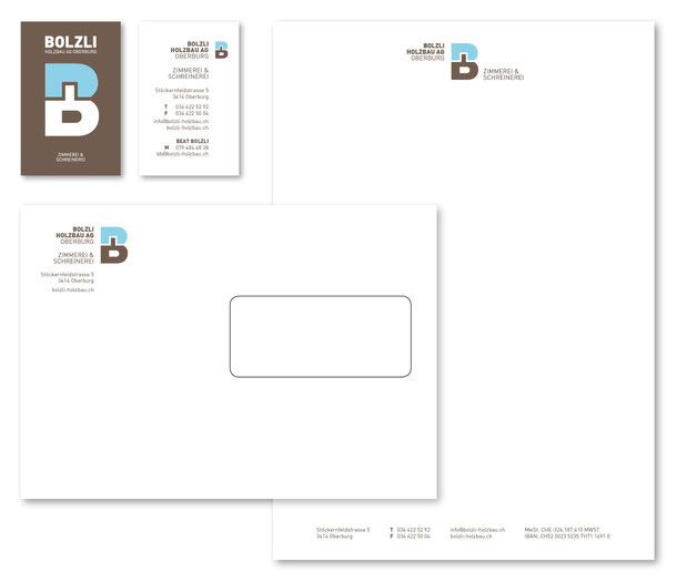 Bolzli Holzbau AG Oberburg: Entwicklung Logo by Lockedesign, Burgdorf: Visitenkarte, Kuvert und Geschäftsbrief, Gestaltung Druck T-shirt