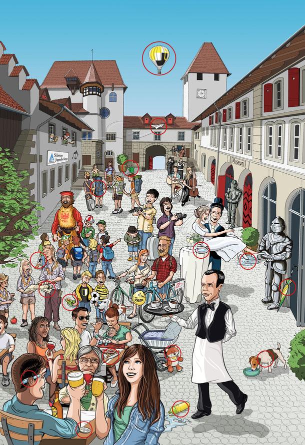 Schloss Burgdorf: Plakat/Postergestaltung Lockedesign Burgdorf: Farbvariante mit zusätzlich gezeichneten Elementen und Motive – by Lockedesign, Bern