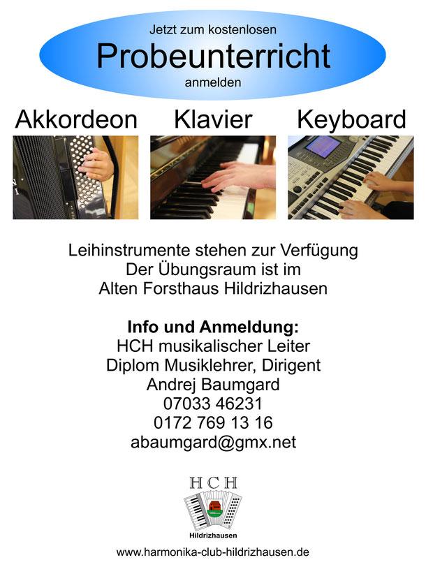 Probeunterricht kostenlos Klavier Akkordeon Keyboard in Hildrizhausen +Leihinstrumente