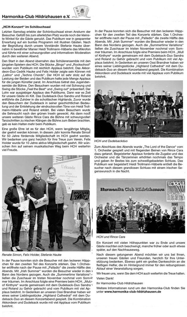 Zeitungsbericht Konzert Akkordeon Hildrizhausen Holzgerlingen Nufringen