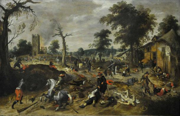 Sébastian Vrancx, peintre flamand du XVIe siècle évoquait déjà les ravages et pillages des soldats et autres mercenaires pendant la Guerre de Trente Ans.