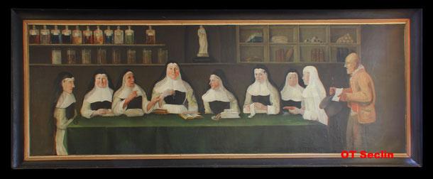 """Anonyme - """"La leçon de pharmacie"""", huile sur toile - 1815 - 4.48 x 1.90m (Hôpital Notre-Dame de Seclin)"""