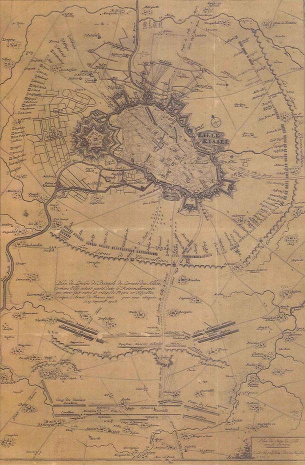 Plan siège de Lille - la situation au 23 Septembre 1708