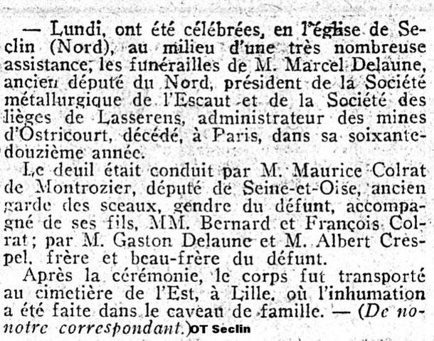 Journal des débats - 1927-02-02 - Enterrement Delaune
