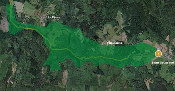 """Les zones """"ZNIEFF"""" et Natura 2000 autour de la tourbière, sur 143 ha"""