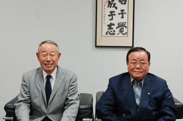株式会社サタケ 副社長の福森 武氏(右)と、弊会理事長 高橋 啓一(左)