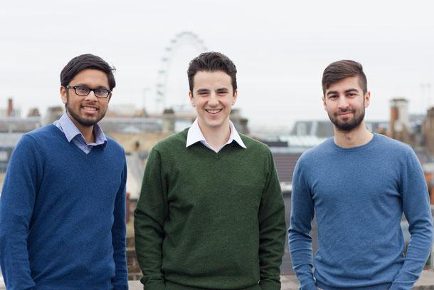 Husayn Kassai (Mitte) mit seinen beiden Mitgründern. Zwei von ihnen haben Pässe, die Donald Trump nicht gefallen. Das britische Start-up ist dabei in die USA zu expandieren und leidet unter den Einreise-Erschwernissen. Foto: Onfido.com