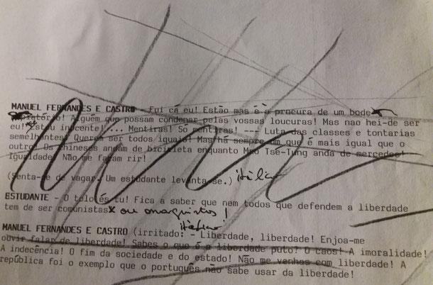 Excerto do original dactilografado e manuscrito