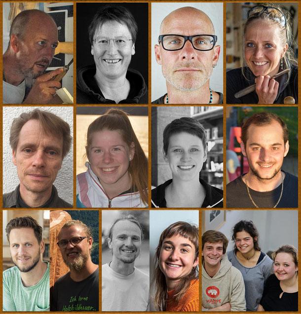 Teilnehmende Holzbildhauer*innen Symposium 2021