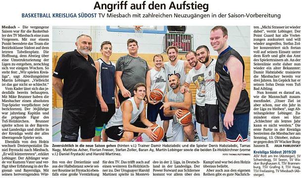 Artikel im Miesbacher Merkur am 6.9.2019 - Zum Vergrößern klicken