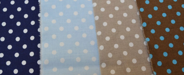 Baumwollstoffe (Innenmaterial Stiefelchen) / marine, hellblau, taupe, braun mit türkis