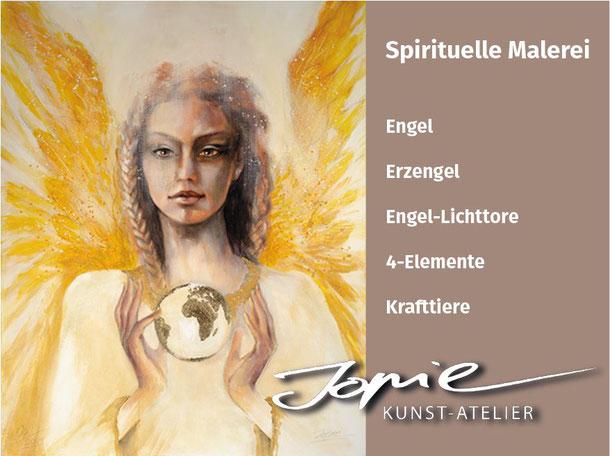 Wandbild Engelbild Leinwandbild Engelgemälde Engel des Aufbruchs gemalt von Jopie Bopp